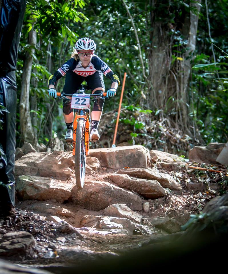 Chloe Woodruff descends at the Cross-Country World Cup race in Cairns, Australia.