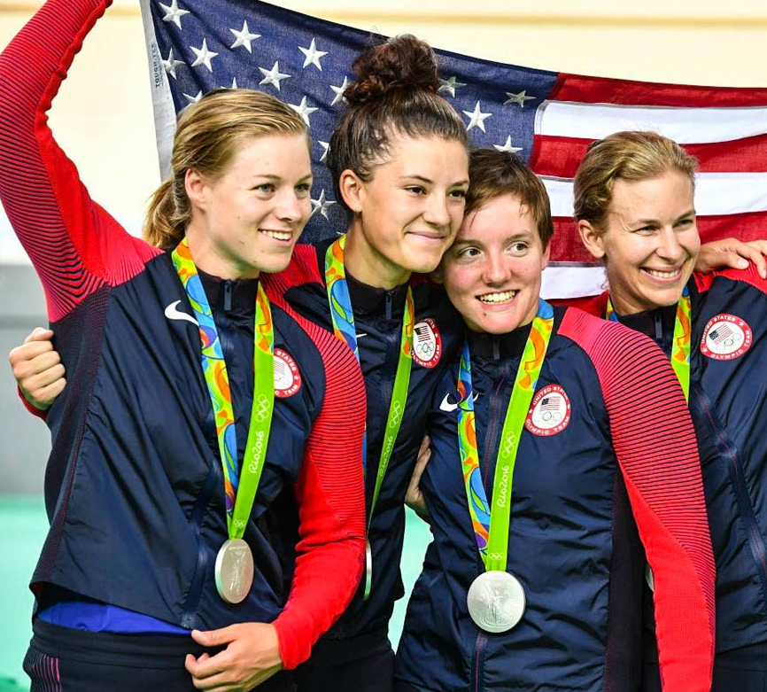 USA women track Olympics flag
