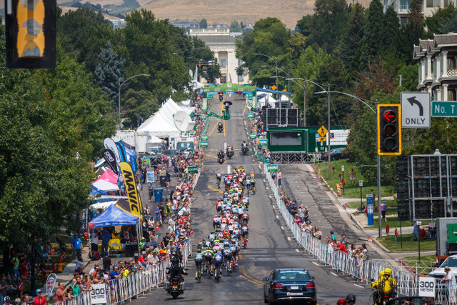 SALT LAKE CITY, UT - AUGUST 10: The peloton rides up the finishing hill for another lap during stage 4 of the 14th Larry H. Miller Tour of Utah on August 10, 2018 in Salt Lake City, Utah. (Photo by Jonathan Devich/epicimages.us)
