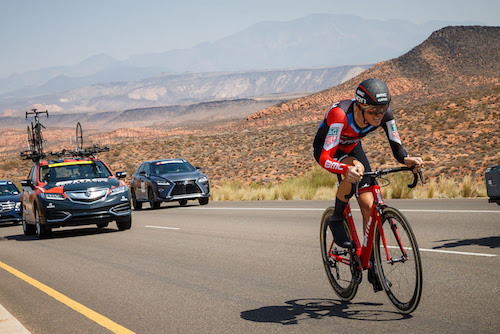 ST. GEORGE, UT - AUGUST 6: Tejay van Garderen of the United States and the BMC Racing Team on his way to winning the prologue on August 6, 2018 in St. George, Utah. (Photo by Jonathan Devich/Getty Images) *** Local Caption ***