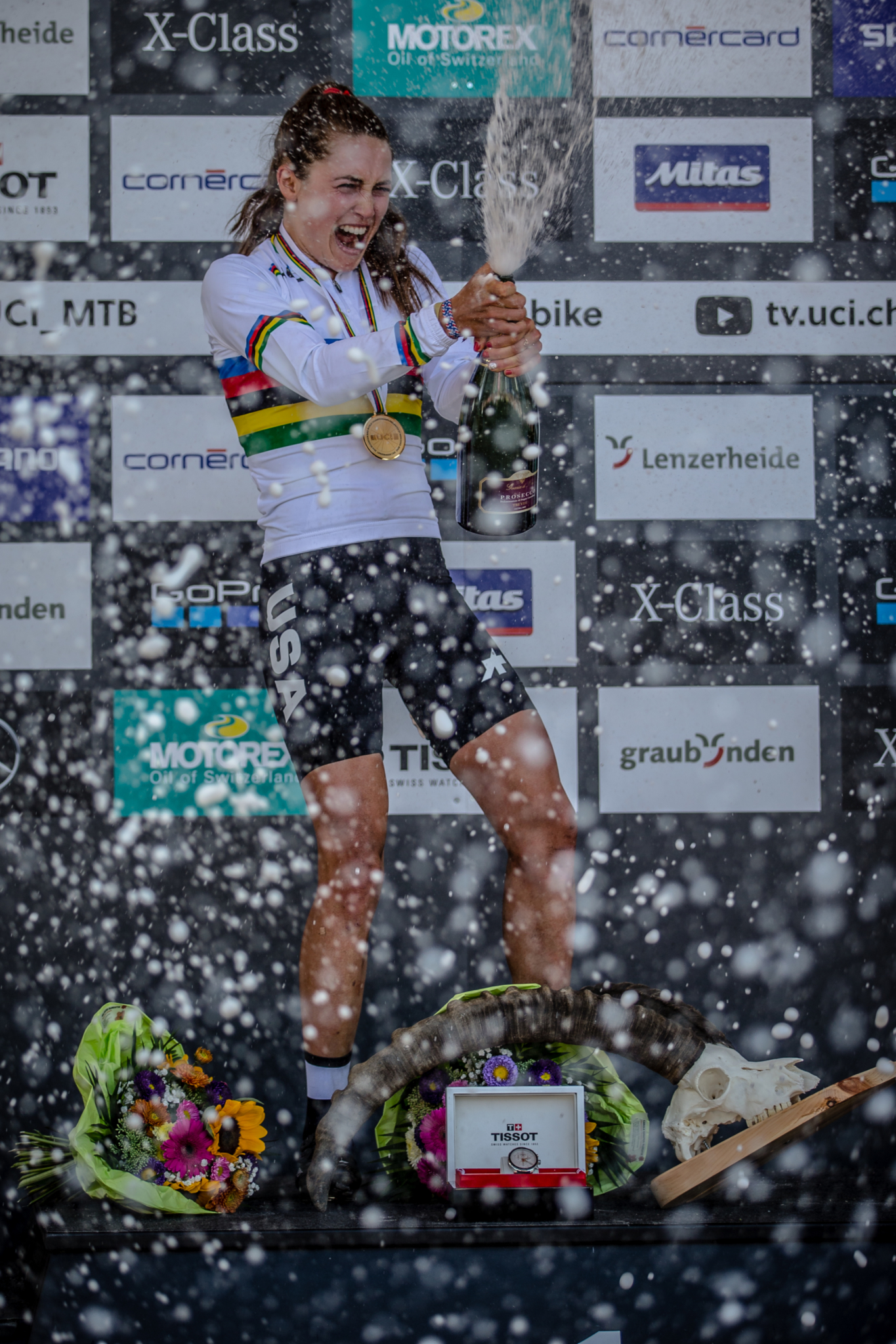 Kate Courtney (USA) celebrates her win of the Women Elite Cross Country event at the 2018 UCI MTB World Championships - Lenzerheide, Switzerland